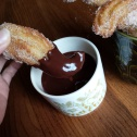 Glossy chocolatey churros